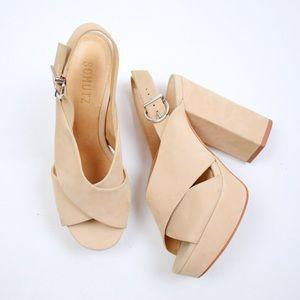 Schutz For Free People Nubuck Leather Millie Heels